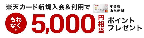 新規入会&利用で5,000円相当ポイントプレゼント