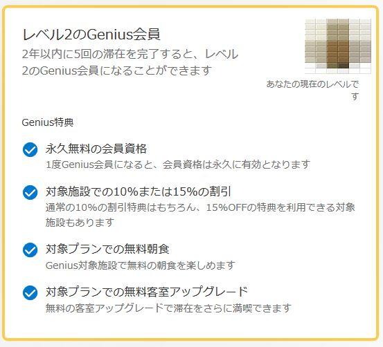 レベル2のGenius会員