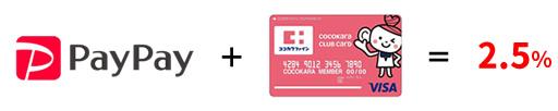 PayPay + ココカラクラブカード = 2.5%