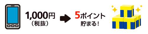 1000円→5ポイント