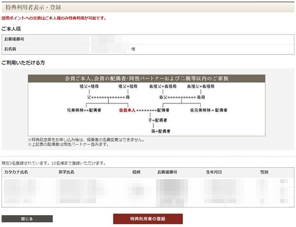 特典利用者登録