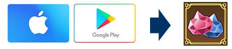 iTunesギフトカード・GooglePlayギフトカード ⇒ ジェム